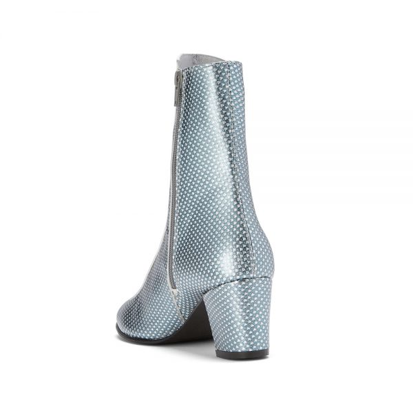 Ops&Ops No16 boots Silver Duo metallic leather: blue and silver back view