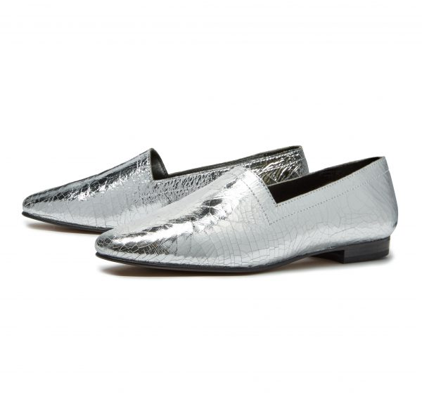 Ops&Ops No14 Silver Foil leather lined flats pair