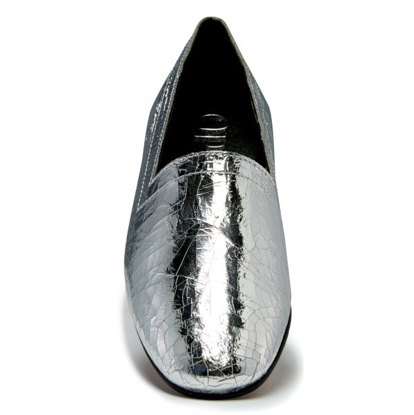 Ops&Ops No14 Silver Foil leather lined flats front view