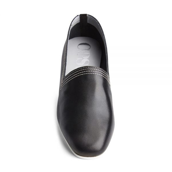 Ops&Ops No10 Black Racer leather multi-stitch flats front view
