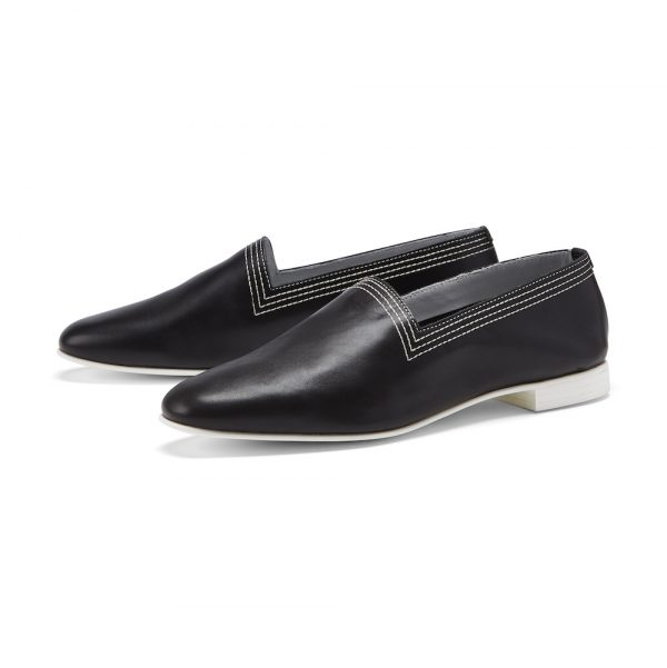 Ops&Ops No10 Black Racer leather multi-stitch flats pair