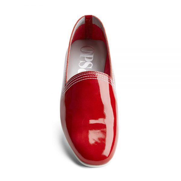 Ops&Ops No10 Red Racer leather multi-stitch flats front view