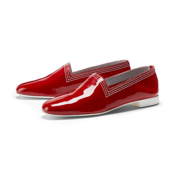Ops&Ops No10 Red Racer leather multi-stitch flats pair
