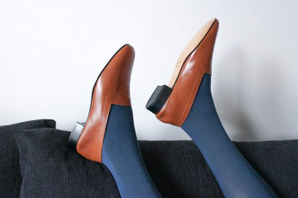 Ops&Ops No11 Cinnamon block heels with blue tights on sofa