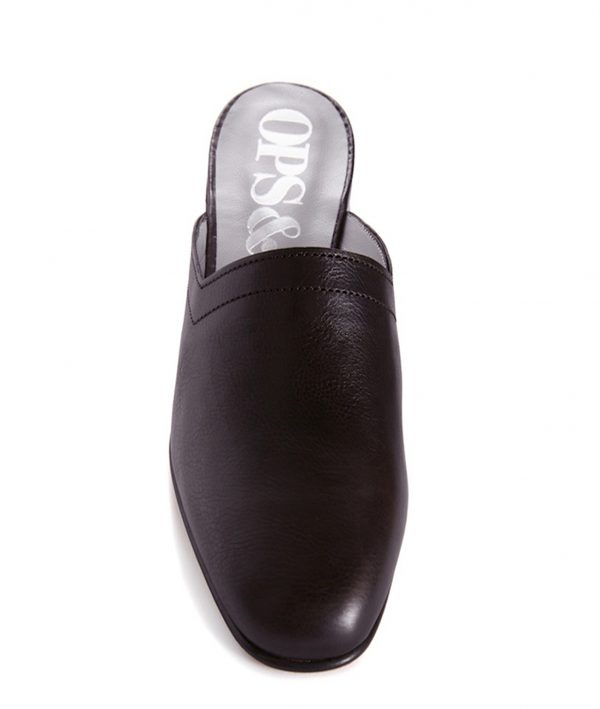 Ops&Ops No13 Matte Black leather slides front view