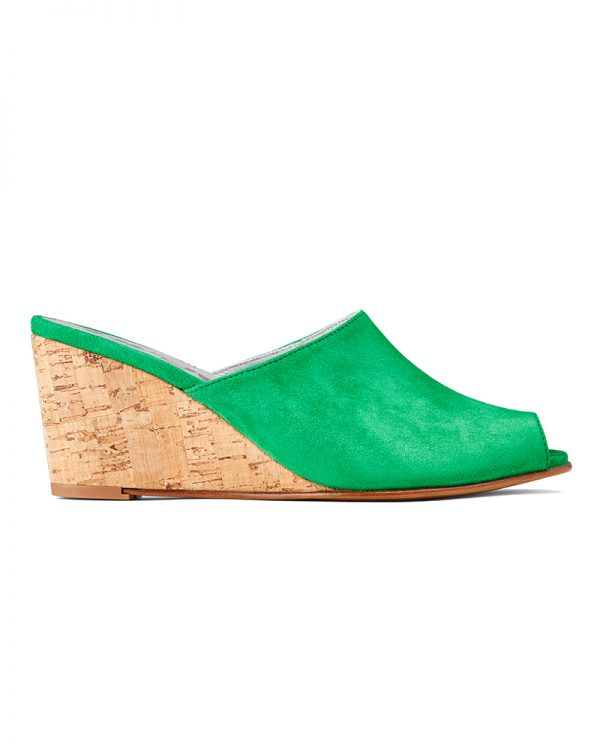 Ops&Ops No15 Emerald suede mules with cork wedge heel side view