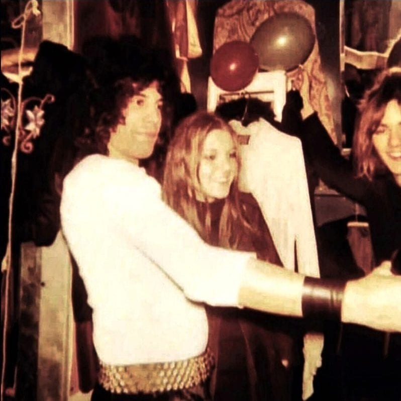 Freddie Mercury, friend Mary and Roger Taylor from Queen in Mair's Kensington High Street boutique, 1970