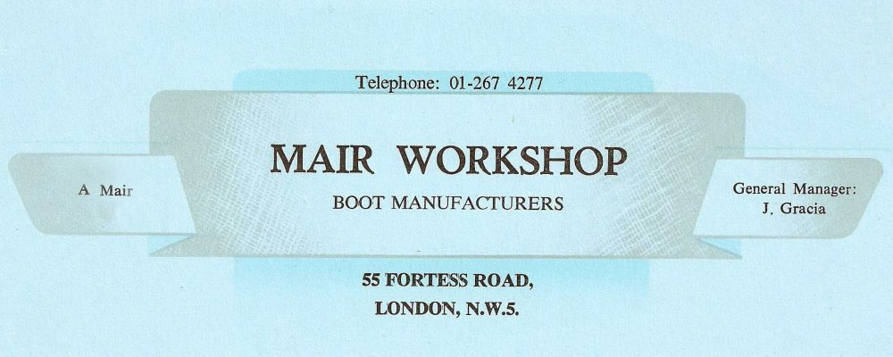 Address card for Mair's workshop, Kentish Town, London