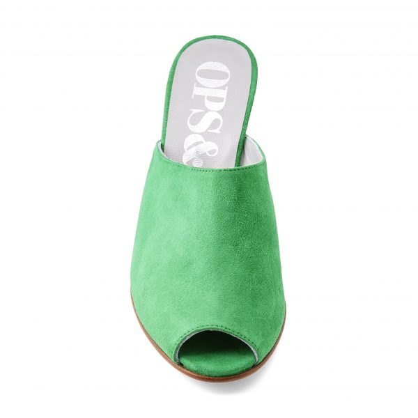 Ops&Ops No15 Emerald suede mules with cork wedge heel front view