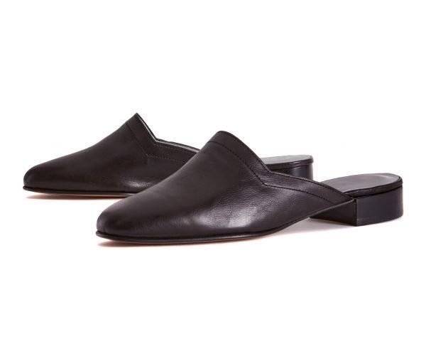 Ops&Ops No13 Matte Black leather slides pair