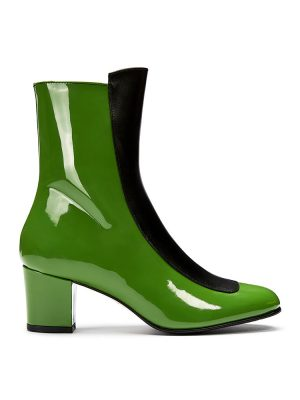 Ops&Ops No16 Avocado patent leather boots side view