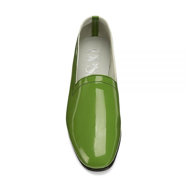 Ops&Ops No10 Avocado patent leather flats front view