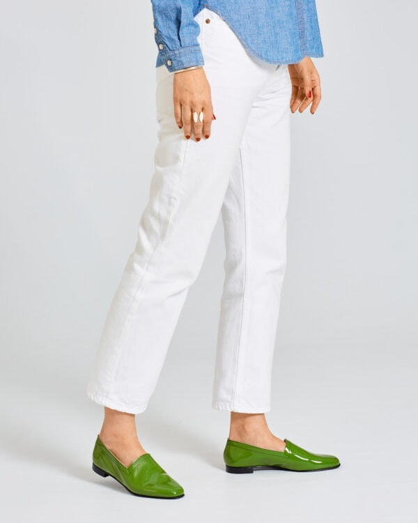 Ops&Ops No10 Avocado patent flats worn here with white straight-leg jeans and long-sleeve denim shirt