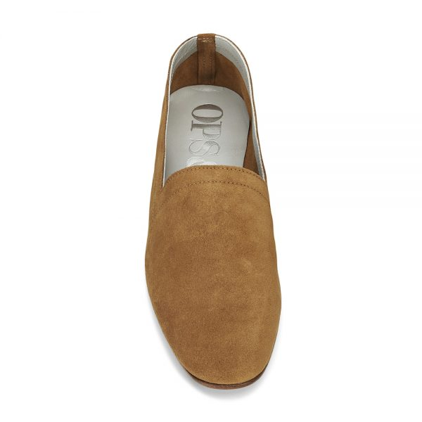 Ops&Ops No10 Toffee suede flats front view