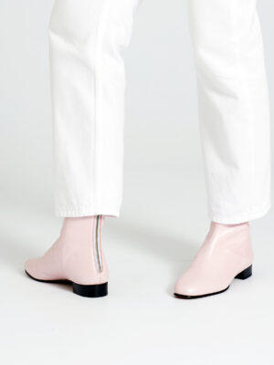 Ops&Ops No12 Pink Frost boots with white straight-leg jeans