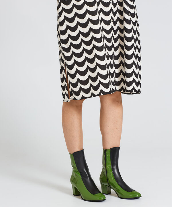 Ops&Ops No16 Avocado boots worn here with knee-length button-through pattern dress by Marimeko