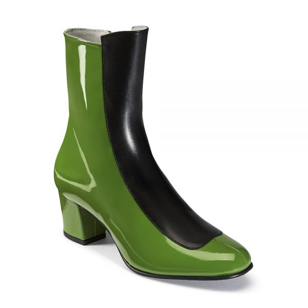 Ops&Ops No16 Avocado patent leather mid-heel boots angled view