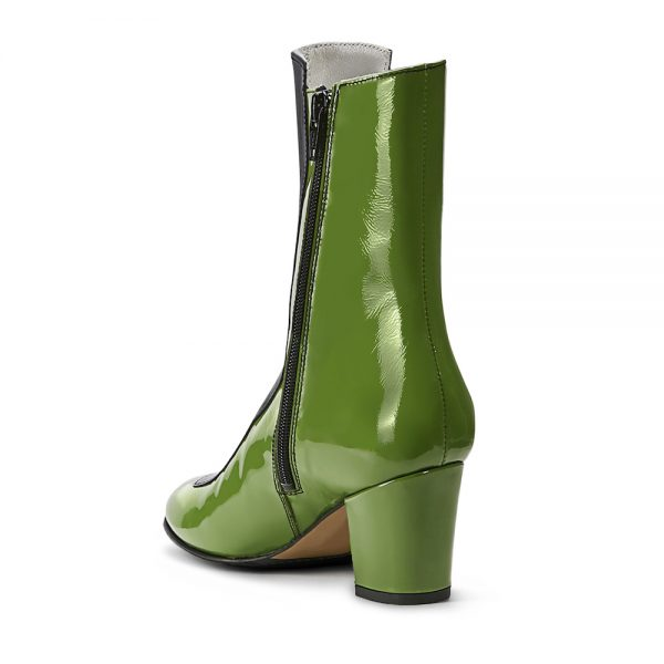 Ops&Ops No16 Avocado patent leather boots back view