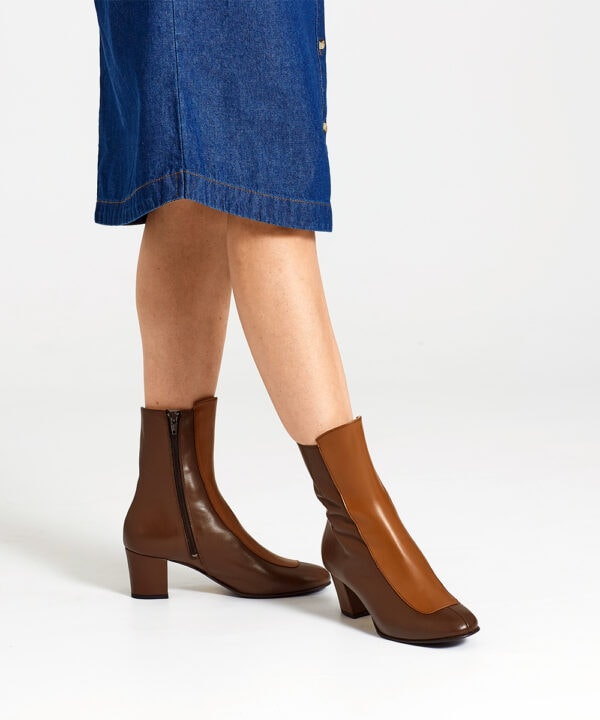 Ops&Ops No16 Curly Wurly boots worn here with knee-length button-through denim dress