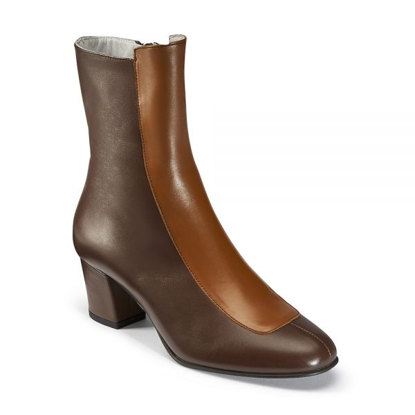 Ops&Ops No16 Curly Wurly duo-tone leather mid-heel boots angled view