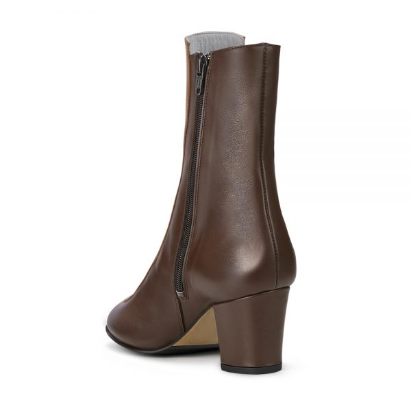 Ops&Ops No16 Curly Wurly duo-tone leather mid-heel boots back view