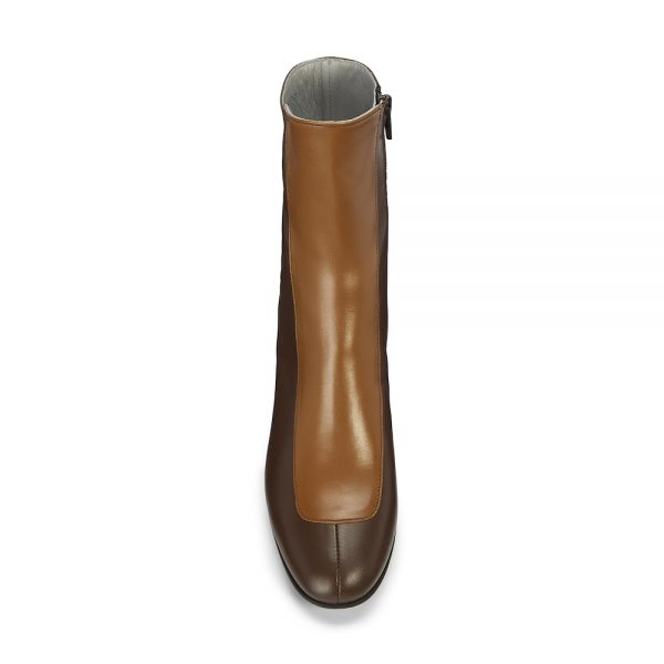 Ops&Ops No16 Curly Wurly duo-tone leather mid-heel boots front view