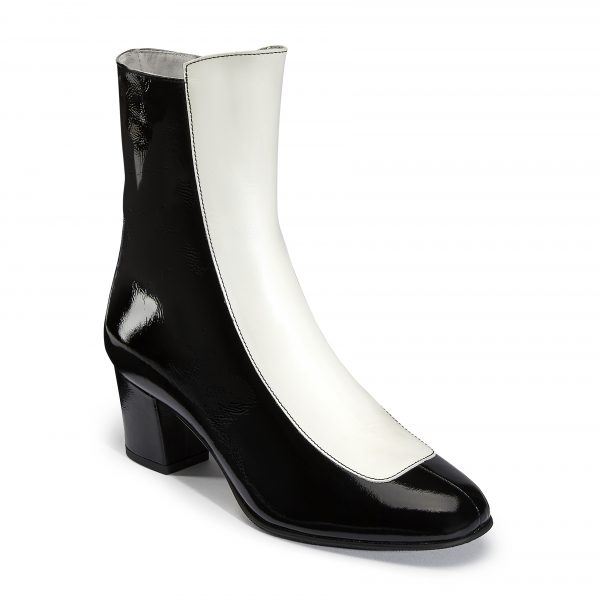 Ops&Ops No16 Oreo patent leather boots angled view