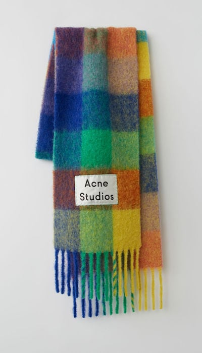Winter Blue Multi check scarf by Acne