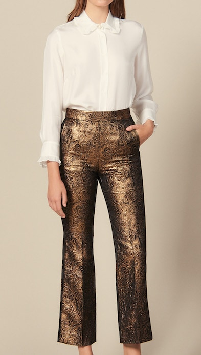 Sandro flared brocade tailored trousers for winter parties
