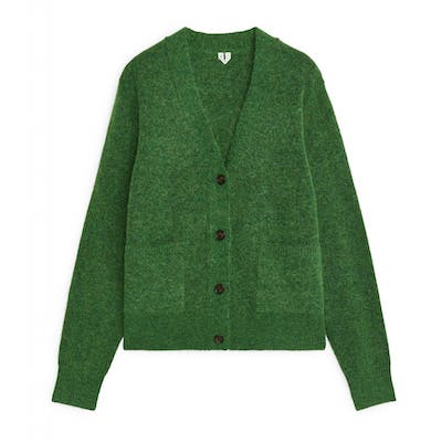 Winter green Alpaca and merino cardigan by Arket