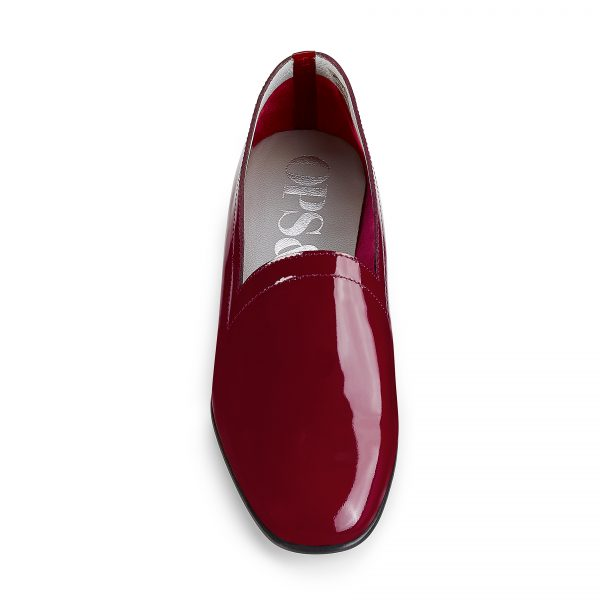 Ops&Ops No11 Crimson patent leather block heels, front view