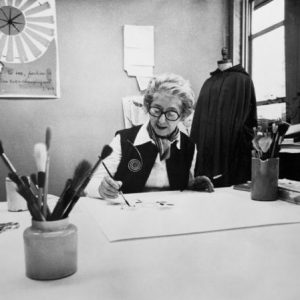 Vera painting in her office, c. 1970