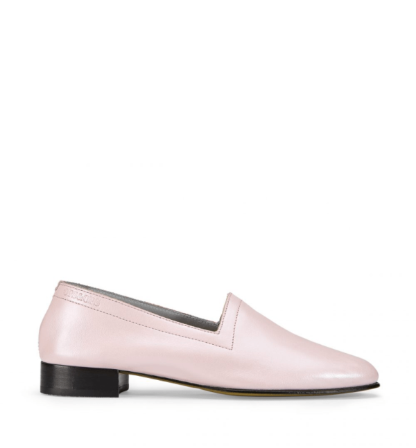Ops&Ops No11 Pink Frost leather block heels side view