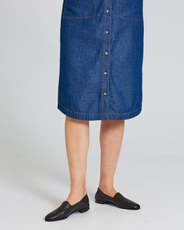 Ops&Ops No10 Action Black flats worn here with knee-length button-through denim dress