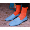 Ops&Ops No10 Action Light Blue flats worn with bright orange socks