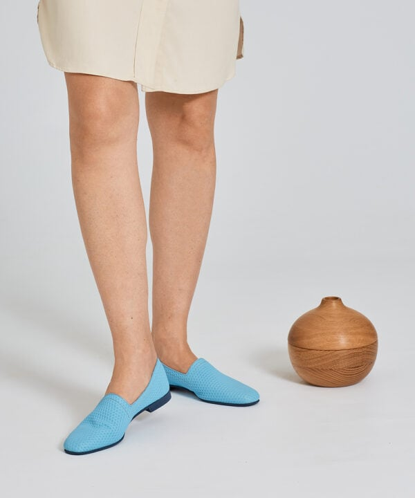 Ops&Ops No10 Action Light Blue flats worn here with ivory knee-length dress