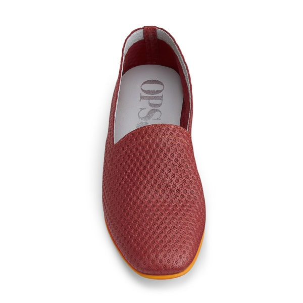 Ops&Ops No10 Action Red leather flats front view