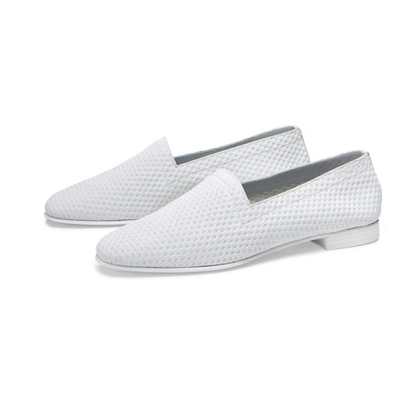 Ops&Ops No10 Action White leather flats pair