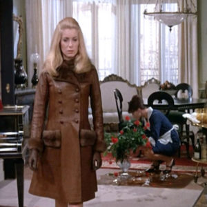 Catherine Deneuve in YSL designed leather coat in film Belle de Jour