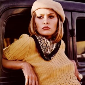 Faye Dunaway in 60s film Bonnie and Clyde