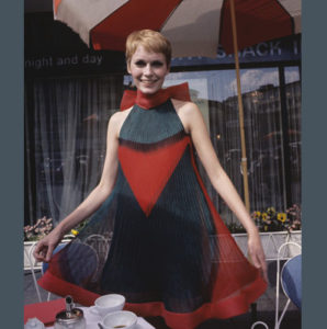 Mia Farrow in Pierre Cardin designed dress in film A Dandy in Aspic