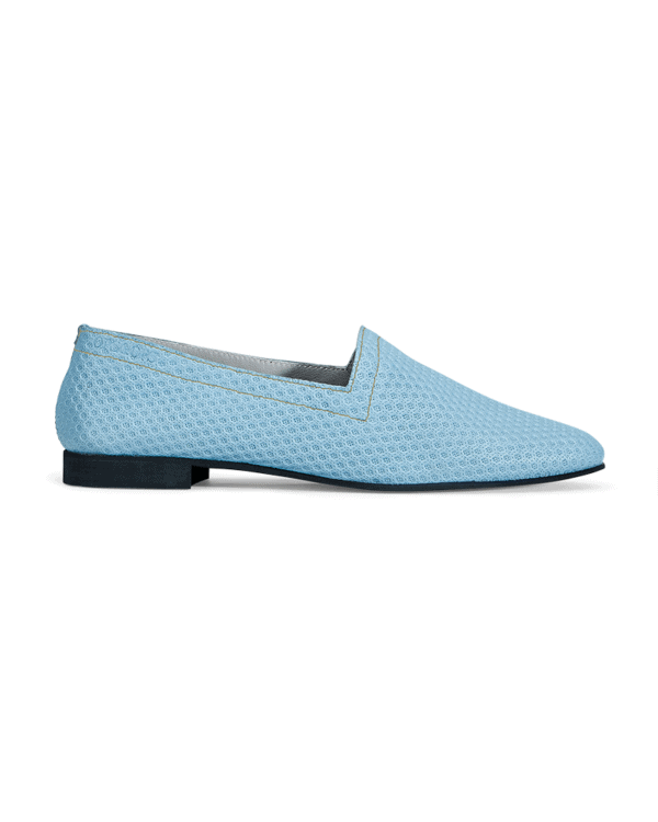 OpsOps No10 Action leather flats Light Blue with light stitchingside view