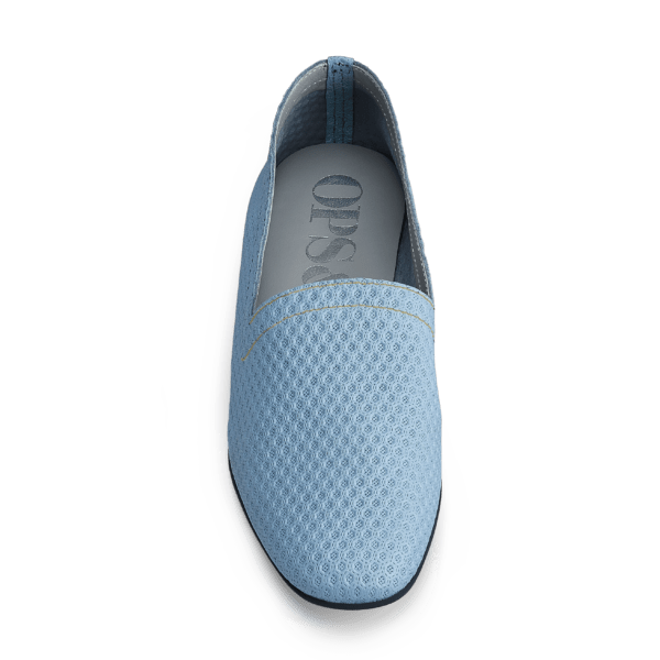 OpsOps No10 Action leather flats Light Blue light stitching front view