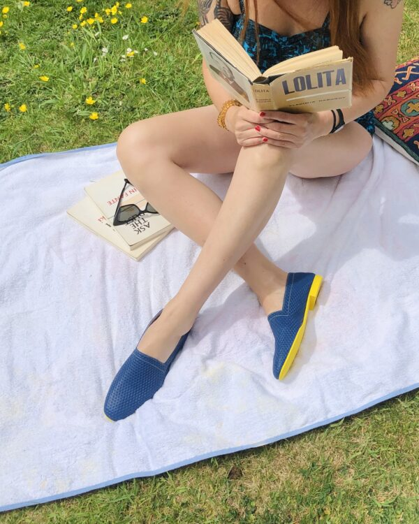 Ops&Ops No10 Action Blue flats with yellow sole and heel worn with swimsuit in the garden