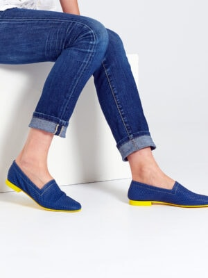 Ops&Ops No10 Action Blue flats with yellow heel and soleworn here with turn-up straight jeans
