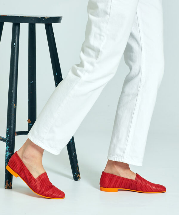 Ops&Ops No10 Action Red flats with orange sole and heel worn here with white jeans