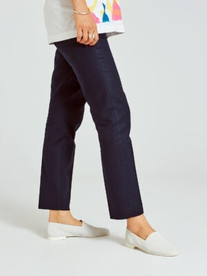 Ops&Ops No10 Action White flats worn here with navy cropped pants and white patterned top