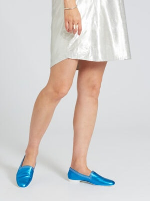 Ops&Ops No10 Metallic Turquoise Racers worn with silver above-the knee dress