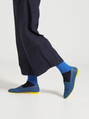Ops&Ops No10 Action Blue leather flats stepping out with blue patterned socks and cropped trousers