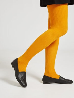 Ops&Ops No10 Action Black leather flats seen here with mustard tights and short black dress
